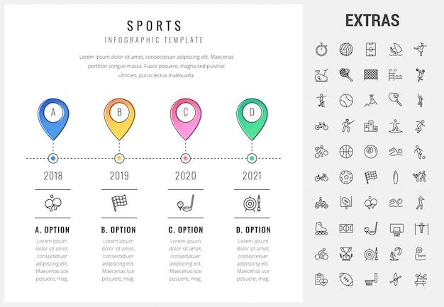 Plantilla de infografía deportiva, elementos e iconos