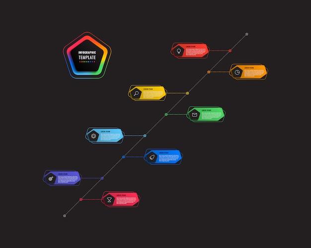 Plantilla de infografía diagonal 8 pasos línea de tiempo con pentágonos y elementos poligonales sobre un fondo blanco.