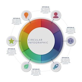 Plantilla de infografía de diagrama circular degradado
