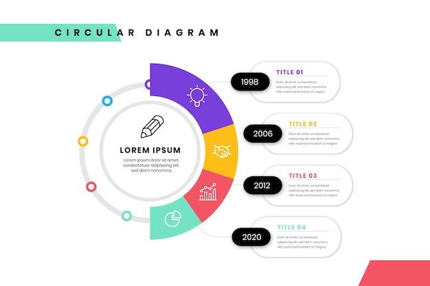 Plantilla de infografía de diagrama circular plano lineal