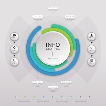 Plantilla de infografía de diagrama circular plano vector gratuito