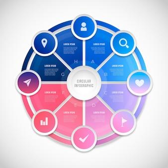 Plantilla de infografía de diagrama circular realista vector gratuito