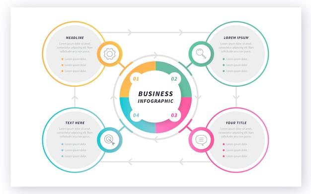 Plantilla de infografía de diagrama circular