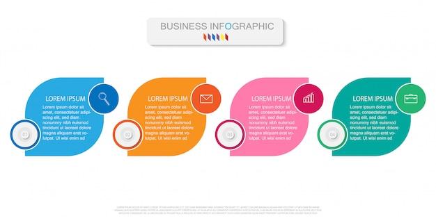 Plantilla de infografía con diagrama de proceso de flujo de trabajo de cuatro pasos u opciones