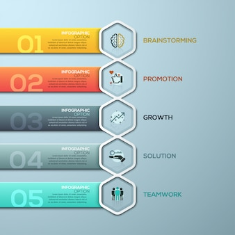 Plantilla de infografía digital 3d abstracto