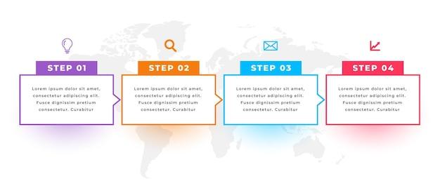 Plantilla de infografía direccional con cuatro pasos.