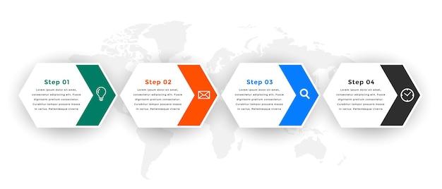 Plantilla de infografía con diseño de cuatro pasos.