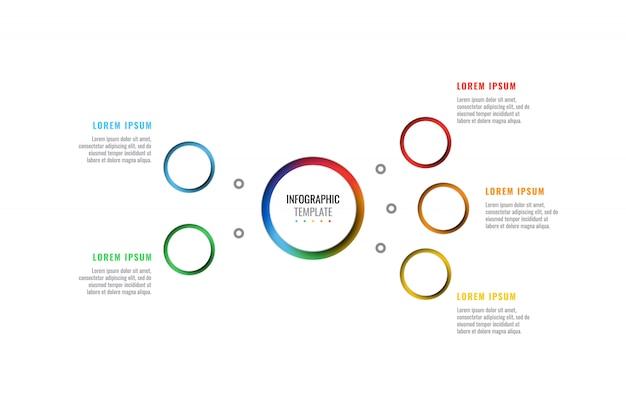 Plantilla de infografía de diseño de diseño de cinco pasos con elementos de corte peper realistas redondos 3d.