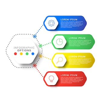 Plantilla de infografía de diseño de diseño simple de cuatro pasos con elementos hexagonales