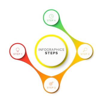 Plantilla de infografía de diseño de diseño simple de cuatro pasos.