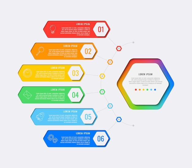 Plantilla de infografía de diseño de diseño simple de seis pasos con elementos hexagonales.