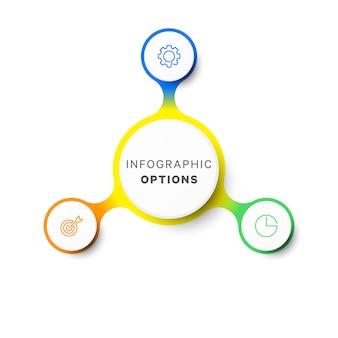 Plantilla de infografía de diseño de diseño de tres opciones simples