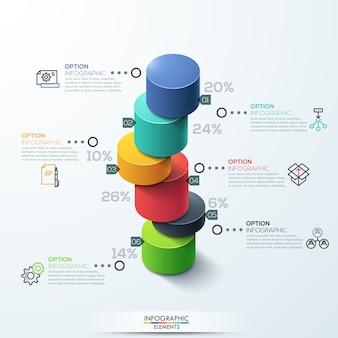 Plantilla de infografía diseño de gráfico de barras de cilindro moderno.