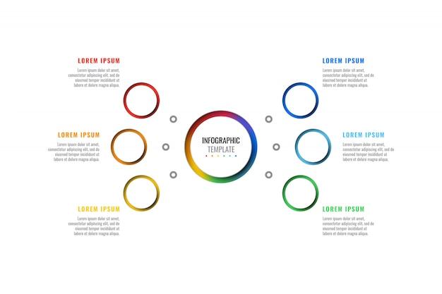 Plantilla de infografía de diseño de seis pasos con elementos de corte peper realistas redondos 3d.