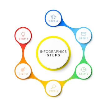 Plantilla de infografía de diseño de seis pasos simples.