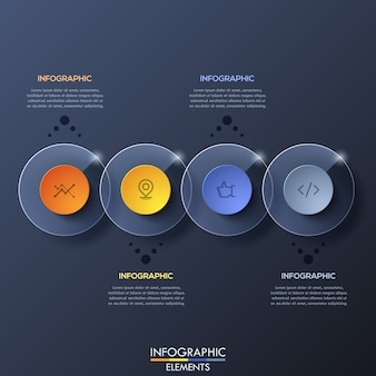 Plantilla de infografía con elementos circulares transparentes superpuestos