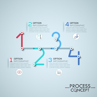 Plantilla de infografía con elementos conectados por líneas en forma de cuatro números.