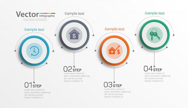 Plantilla de infografía empresarial con 4 opciones o pasos.