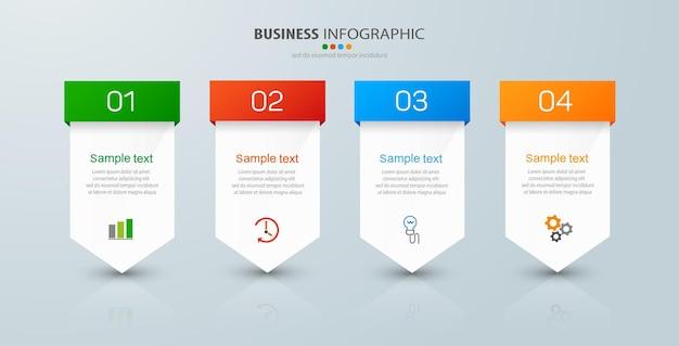 Plantilla de infografía empresarial con 4 opciones.