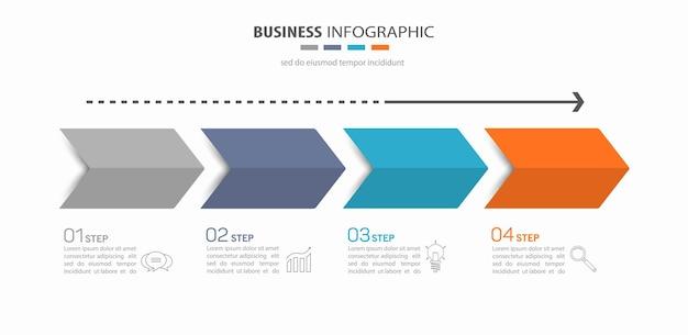 Plantilla de infografía empresarial con 4 pasos.