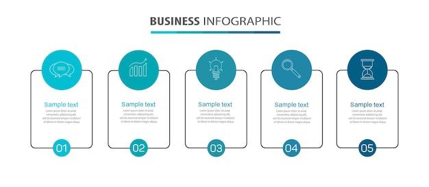 Plantilla de infografía empresarial con 5 opciones o pasos.
