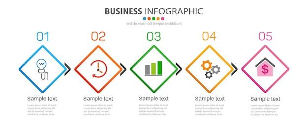 Plantilla de infografía empresarial con 5 opciones.
