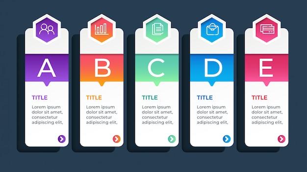 Plantilla de infografía empresarial de 5 opciones