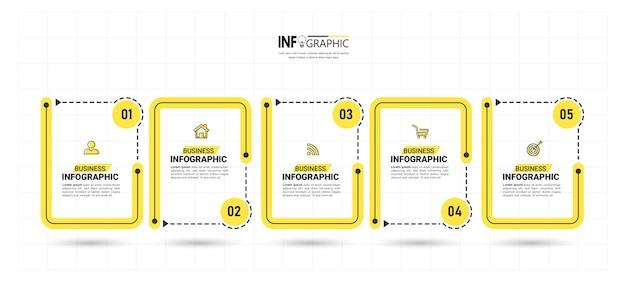 Plantilla de infografía empresarial con 5 pasos