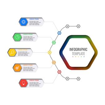 Plantilla de infografía empresarial con cinco elementos hexagonales con iconos de líneas finas sobre fondo blanco.