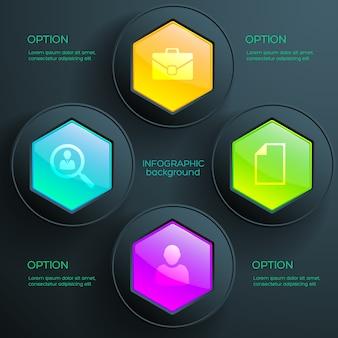 Plantilla de infografía empresarial con cuatro pasos