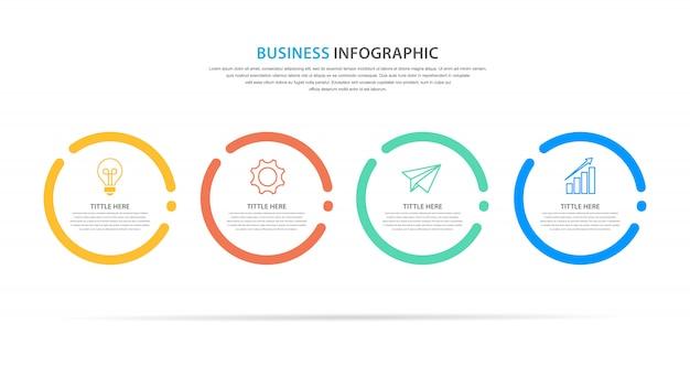 Plantilla de infografía empresarial, diseño plano con icono y 4 opciones o paso