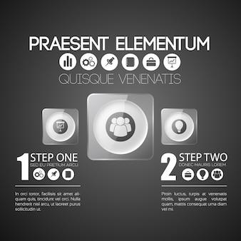 Plantilla de infografía empresarial con dos pasos