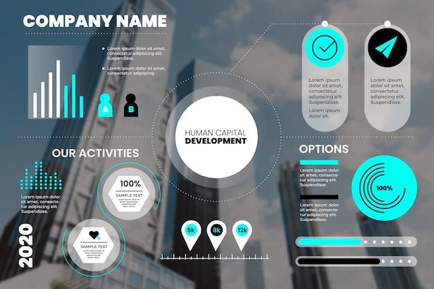 Plantilla de infografía empresarial con estadísticas