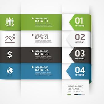 La plantilla de infografía empresarial de flecha abstracta se puede utilizar para el diseño del flujo de trabajo, el diagrama, las opciones numéricas, las opciones de incremento, el diseño web