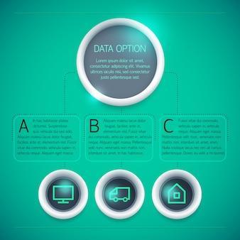 Plantilla de infografía empresarial geométrica con iconos de texto de círculos tres opciones sobre fondo verde aislado