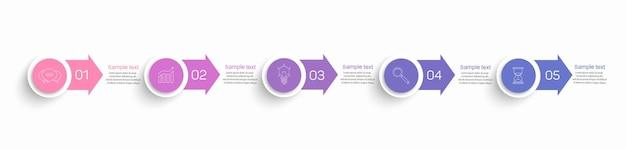 Plantilla de infografía empresarial con gráfico de proceso de pasos de 5 opciones