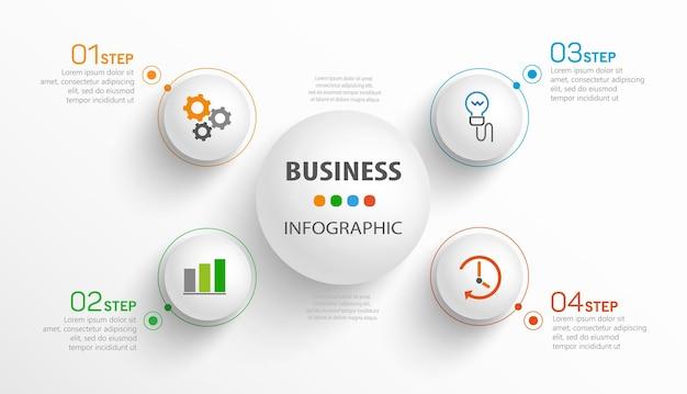 Plantilla de infografía empresarial con iconos y 4 opciones o pasos.