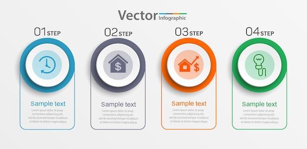 Plantilla de infografía empresarial con iconos y 4 pasos.