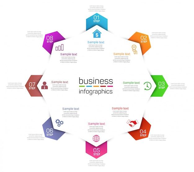 Plantilla de infografía empresarial con iconos y 8 opciones o pasos
