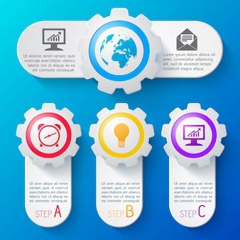 Plantilla de infografía empresarial con iconos de colores y descripción de pasos