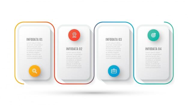 Plantilla de infografía empresarial. línea de tiempo con icono de marketing y 4 opciones o pasos.