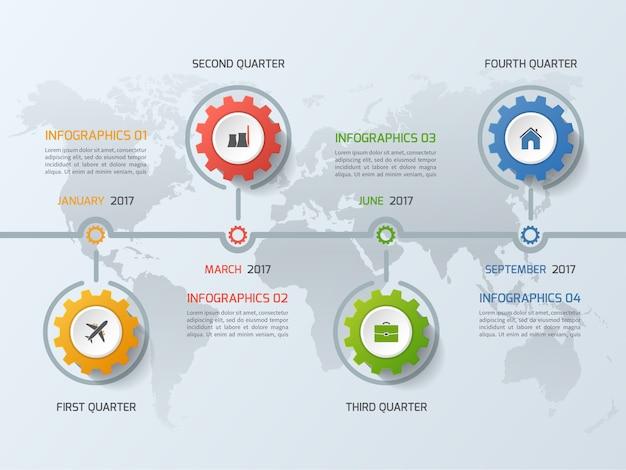 Plantilla de infografía empresarial de línea de tiempo con ruedas dentadas de engranajes