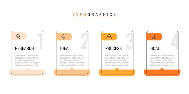 Plantilla de infografía empresarial moderna abstracta con iconos