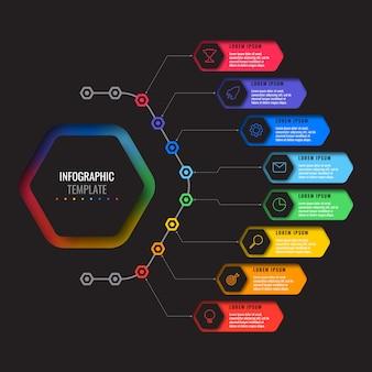 Plantilla de infografía empresarial con ocho elementos hexagonales realistas con iconos de líneas finas sobre fondo negro.
