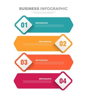 Plantilla de infografía empresarial plana de 4 pasos