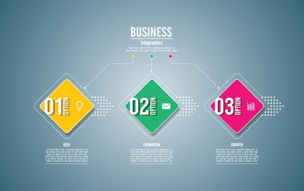 Plantilla de infografía empresarial de presentación con 3 pasos