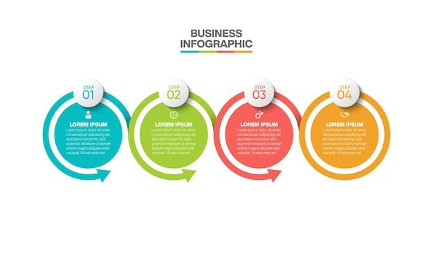 Plantilla de infografía empresarial de presentación con 4 opciones.