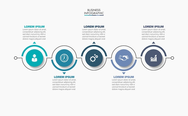 Plantilla de infografía empresarial de presentación con 5 opciones.