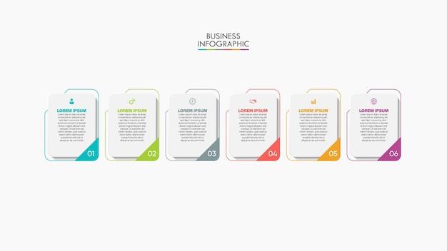 Plantilla de infografía empresarial de presentación con 6 opciones.
