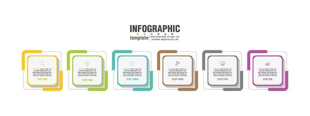 Plantilla de infografía empresarial de presentación con 6 pasos.